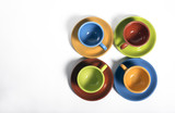 Colorful set of cups and saucers