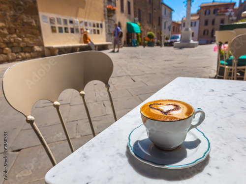 Italian Cup of Cappucino at a Cafe Terrace with Street View, Ita