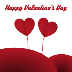 happy valentine hearts card red