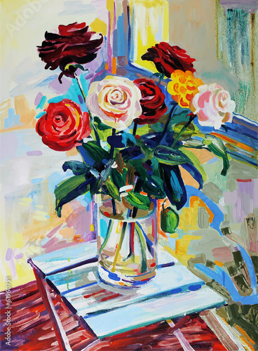 art composition of roses bouquet