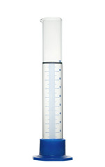 Chemical measuring cylinder with solution. Isolated