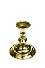 Gold plated candlestick. Isolated