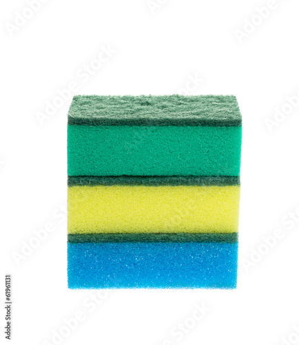 Three colored sponges for dishwashing. Isolated