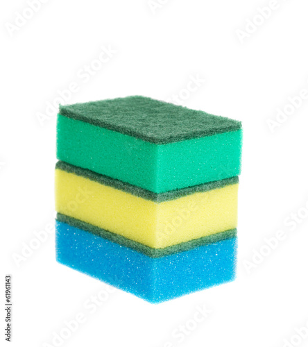 Three sponges for washing. Isolated