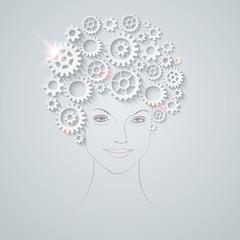 Vector futuristic unusual  woman portrait.