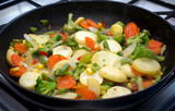 mixed vegetables cooked on a frying pan