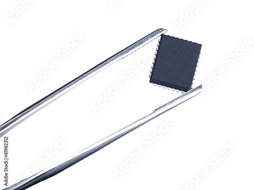 computer chip with tweezers, isolated - 61962312