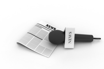 Microphone with newspaper