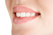Teeth of a smiling young woman,tilted