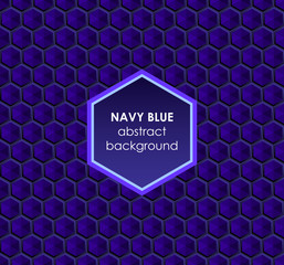 Hexagonal navy blue abstract background
