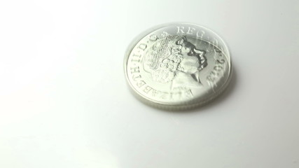 UK Ten Pence coin spinning until it drops