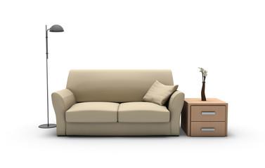 Set di soggiorno isolato su bianco