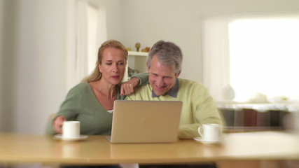 Mature couple using laptop and drinking coffee