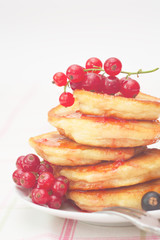 Fresh pancakes with red berries