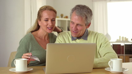 Senior couple doing online  shopping together