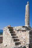A lone pillar of the prehistoric Greek temple to Apollo