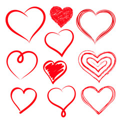 Vector hearts set. Hand drawn.