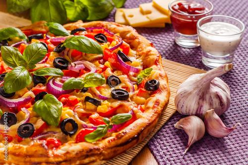 Fotobehang Restaurant Homemade pizza