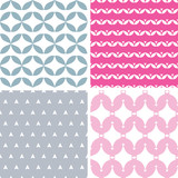 Vector set of four twavy pink and gray abstract geometric
