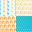vector four abstract blue yellow berry shapes seamless patterns