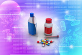 Medical bottles and pills