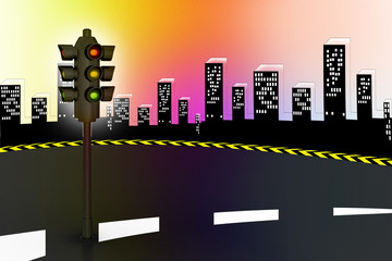 Modern traffic lights and high way