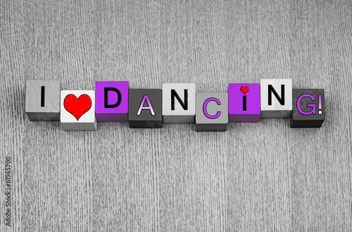 I Love Dancing, sign for ladies dance, in pink.