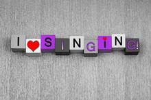 """Постер, картина, фотообои """"I Love Singing, sign for song, music and karaoke, pink."""""""