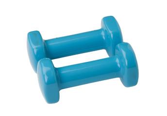 Couple of blue dumbbells