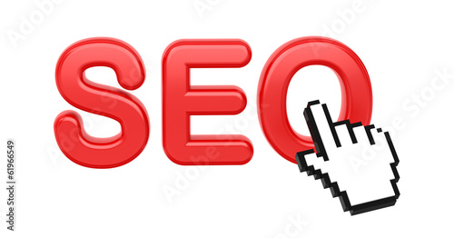SEO with Hand Cursor. Internet Concept.