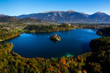 Beautiful island on lake Bled in Triglav national park