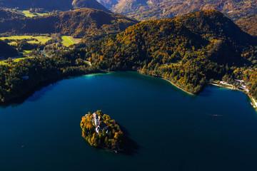 Beautiful island on lake Bled in Triglav national park