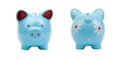 Two blue piggy-banks isolated