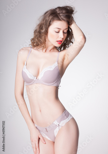 beautiful woman wearing lingerie - studio shot