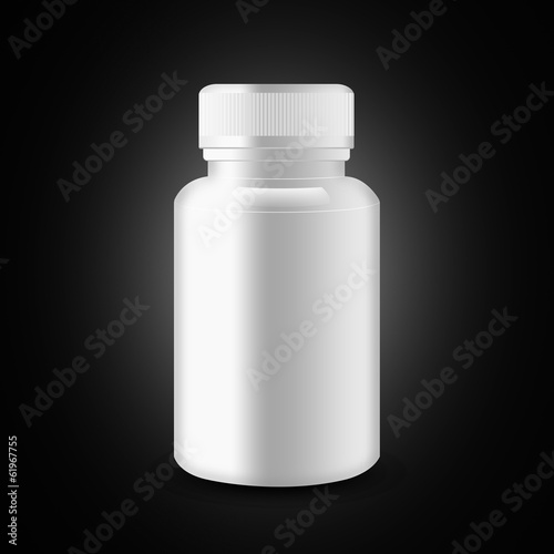 Blank medicine bottle on black background, illustration
