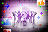 Group of people and light bulb, new idea concept