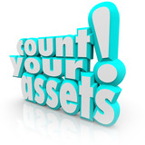 Count Your Assets 3d Words Tracking Wealth Value Money