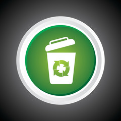 Icon of recycle Bin. garbage can. On Button. Eps-10.