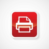 Icon of Print on Red Glossy Button. Eps-10