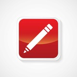 Icon of on Pencil (Write) Red Glossy Button. Eps-10