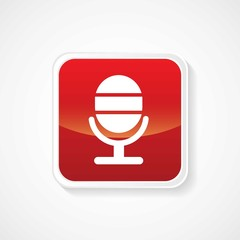 Icon of microphone on Red Glossy Button. Eps-10
