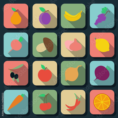 Fruits and vegetables flat vector icons
