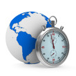 Stopwatch and globe on white background. Isolated 3D image