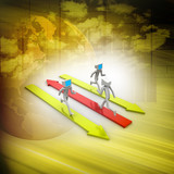 3d man people running on colourful arrows