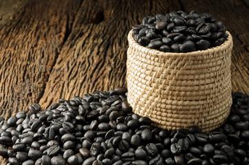 Coffee bean in basket on wooden background