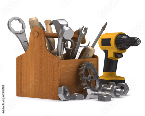 Wooden toolbox with tools. Isolated 3D image