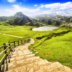 Lake Ercina, one of the lakes of Covadonga, Asturias , Spain.