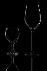 Wine glasses on isolated background