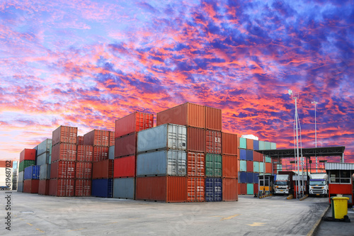 Containers box stacking in location for transportation at check