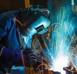People are working steel welding